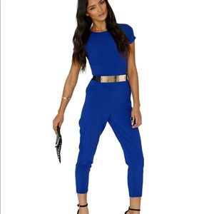 MISSGUIDED: Polly Blue Jumpsuit